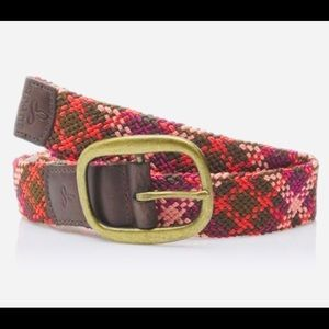PrAna Recycled Woven Rhodes Belt in Plum Red NWT